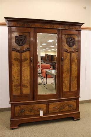 English Art Nouveau Carved Two Door Armoire