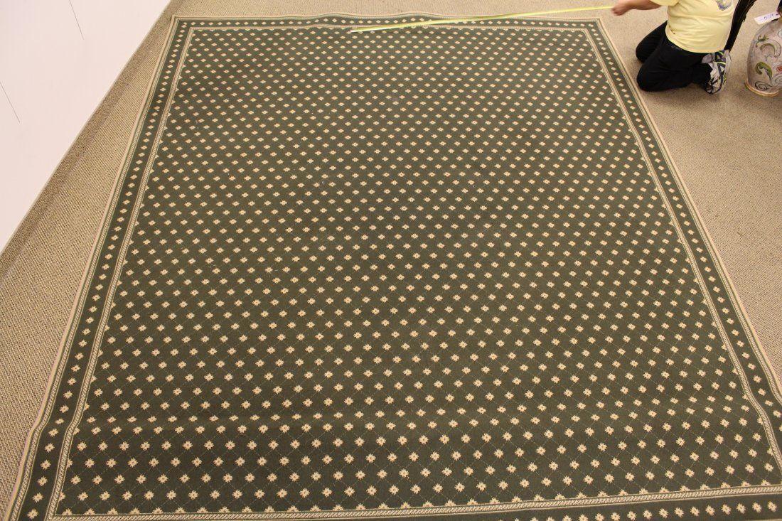 Custom Bound Green Area Wool Rug (poss. Stark)