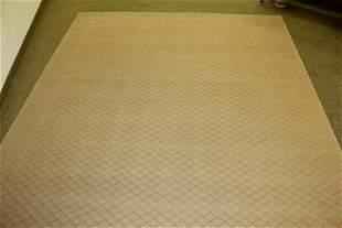 Custom Camel Bound Wool Lattice Carpet
