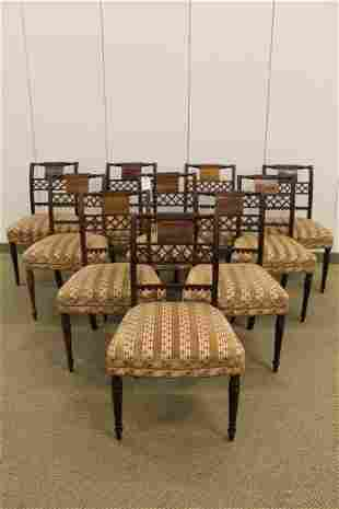 Set 10 Upholstered Regency Style Inlaid Dining Chairs