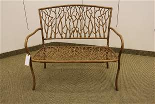 Faux Bois Painted Metal Garden Bench Wrought Iron