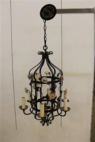Italian Wr. Iron and Porcelain Cage Form Chandelier