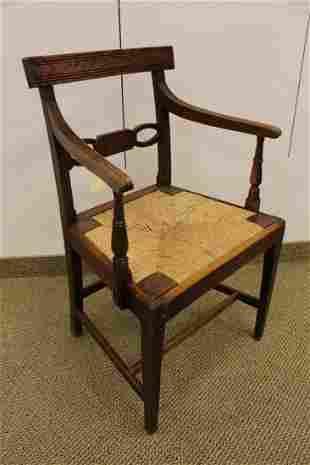 Regency Style Oak Rush Seat Chair