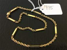 14K Gold Bar Rope Twist Necklace 8.7g