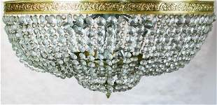 LARGE NEOCLASSICAL STYLE BRASS AND GLASS BASKET FORM