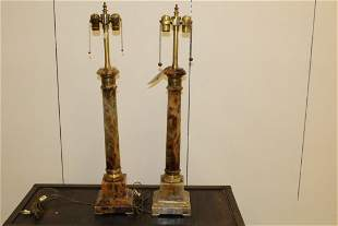 Pair French Empire Style Marble Column Form Lamps