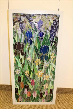 Stained Glass Panel With Illuminated Hanging Cabinet