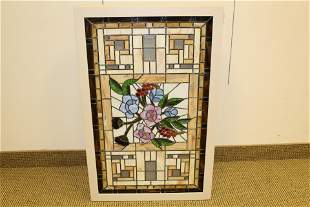 Stained Glass panel With  Illuminated Cabinet