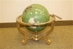 Semi-Precious Stone Inlay Globe on Brass Stand