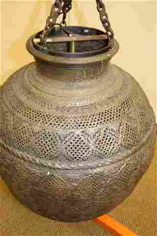 Large Moroccan Style Pierced Metal Globe Chandelier
