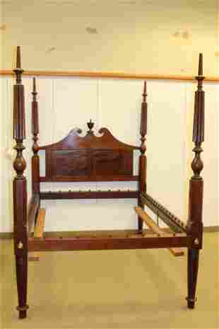 American Chippendale Carved Four Post Bed