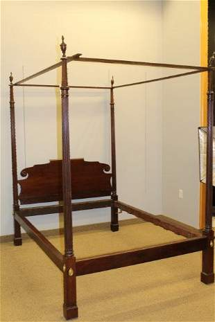 American Federal Carved Mahogany Four-Post Bed