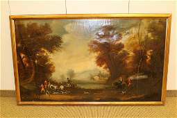 Large 19thC English Oil on Canvas Hunting Scene