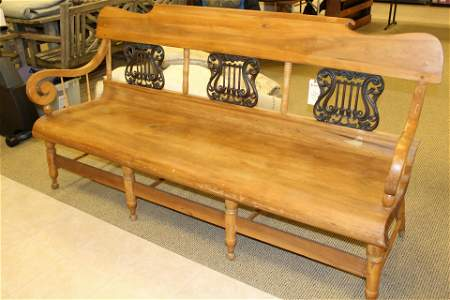 American Empire Triple Back Maple and Iron Bench