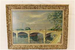 "Lucien Adrion Oil on Canvas ""Pont de la Concord"""