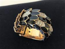 Roberto Coin 18K Gold Enamel Serpentine Ring Diamonds