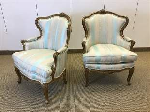 Pair Louis XV Style Upholstered Gilt Wood Bergeres