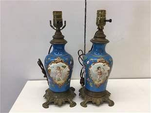 Pair French 19thC Painted Porcelain Lamps