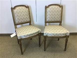 Pair Louis XVI Style Gilt Carved Sidechairs