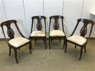 4 French Empire Style Carved Dining Chairs
