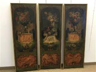 Italian 19thC 3 Part Oil on Canvas Panels