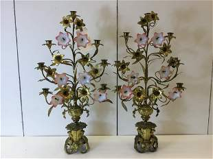 Pair French Gilt Metal and Glass Table Sconces