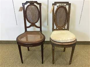 Two Similar French Caned Side Chairs