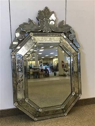 Large Venetian Etched Cushion Shape Mirror