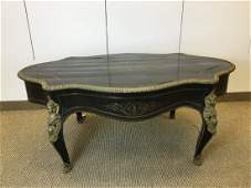 19th C French Paul Sormani Ebonized Brass Inlay Table