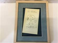 Signed Charles Schulz Drawing Snoopy