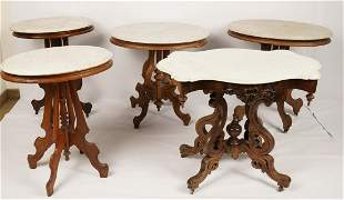 Lot of 5 Marble Top Victorian Tables
