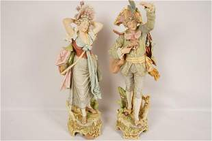 Pair German or Austrian Porcelain Figures