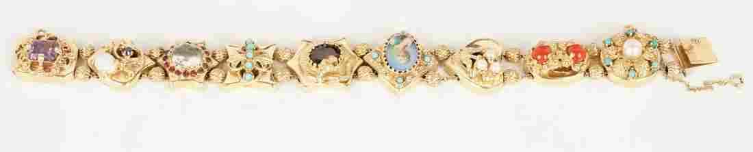 14K Gold Victorian Gem-set Slide Bracelet