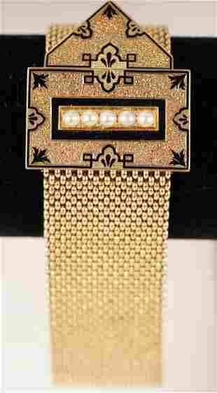 14K Gold Edwardian Strap Bracelet