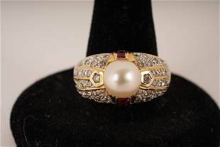 14K Gold Diamond Pearl Ruby Ring