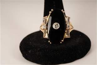 10K Gold Diamond Onyx Ring