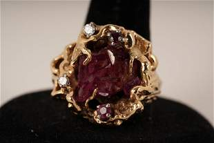 14K Gold Nugget Ruby and Diamond Ring