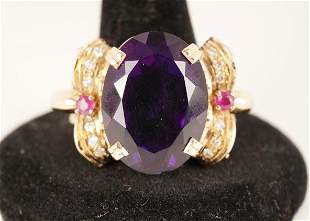 18K Gold Amethyst and Diamond Ring