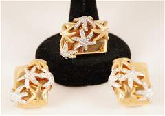 Sonia B 14K Gold Diamond Starfish Ring and Earrings