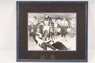 Muhammad Ali Signed Standing Over Beatles Framed