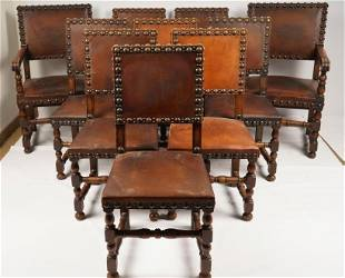 Set 10 Renaissance Style Leather Dining Chairs