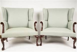 Pair Chippendale Style Oversized Wing Chairs