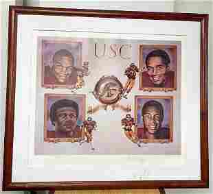 NUMBERED HEISMAN USC FRAMED 5 SIGNATURE OJ+