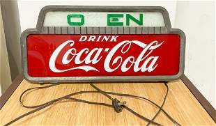 Old Powered Coca Cola Metal Open Hanging Sign HTF