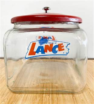 Vintage Glass Lance Cracker Store Jar Display with Lid
