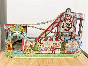 Vintage J Chein Tin Litho Rollercoaster