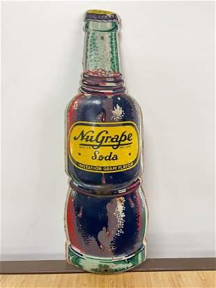 NuGrape Soda Original 1960s Bottle Shaped Sign