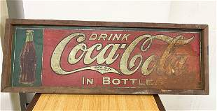 Original Dated 1934 Drink Coca Cola Sign Wood Trim HTF