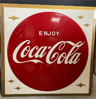 Old Metal Square Brooklyn Luncheonette Coca Cola Sign