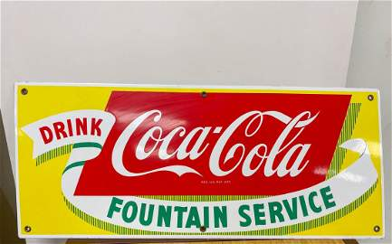 Original Porcelain Coca Cola Fountain Service Sign